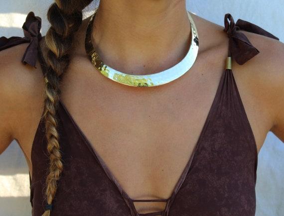Brass gold choker,tribal choker,ethnic choker,African choker,bib collar necklace,statement choker neck cuff choker,large,wide,thick,metallic