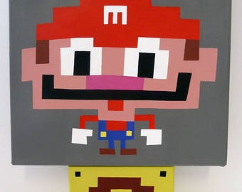 Mario? (2015) Original acrylic on canvas painting 10x10 inches