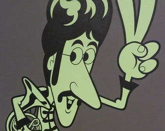 PEACE! (2014) Original acrylic painting on canvas of John Lennon 16 x 20 inches Sergeant Pepper era