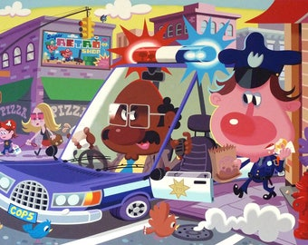 Donut Cops (2011) Original acrylic painting on canvas 48 x 30 inches