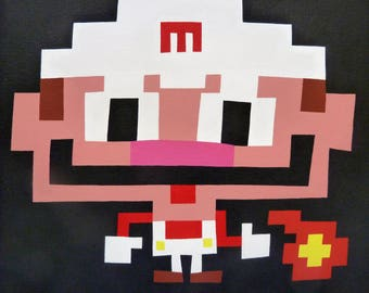 Fire Mario (2016) Original acrylic on canvas painting 10x10 inches