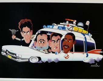 BUSTIN' A3 digital print - signed cartoon illustration - Ghostbusters Ectomobile