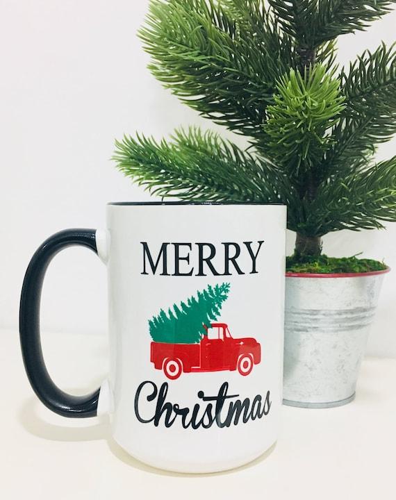 Merry Christmas Coffee Mug Vintage Truck Mug Christmas Gift Etsy