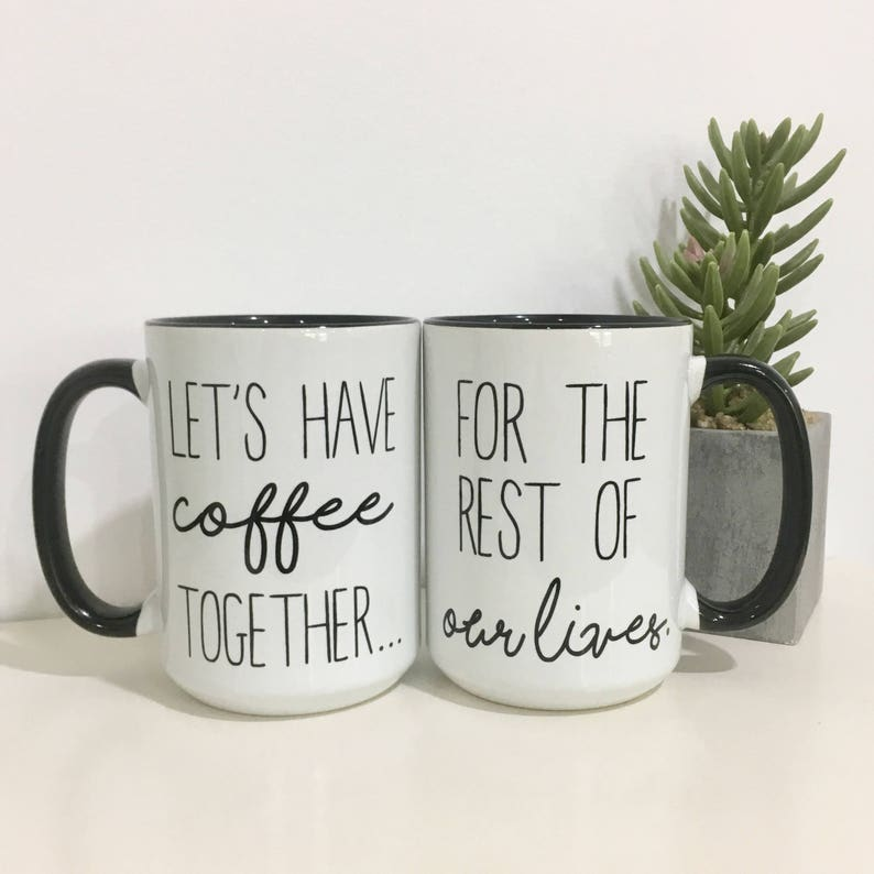 Couples Coffee Mug Set-Engagement Gift Idea-Wedding