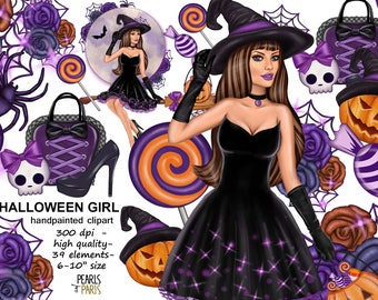 Halloween clipart, autumn clipart,halloween paper pack, witch clipart, pumpkin clipart, halloween girl clipart