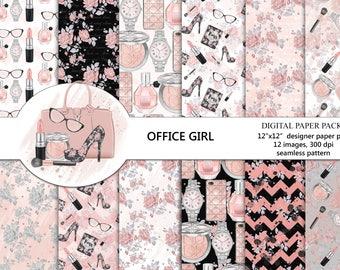 Fashion digital paper pack, makeup digital paper, girl boss digital paper, pink paper, blush digital paper, lipstick, perfume