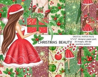 Christmas digital paper pack, Christmas paper, christmas paper pack, christmas clipart