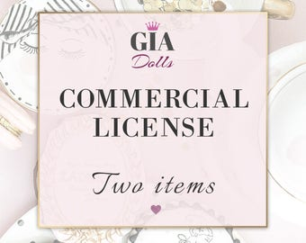 License for Commercial Use, No-Credit, for Two  Items, Watercolor Clipart, Digital Paper Packs, PearlsAndParis