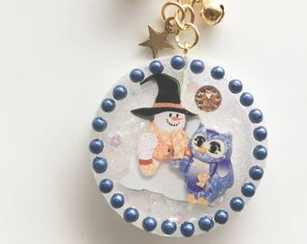 Key ring, Taschenbaumler, back bag pendant, snowman, owl, resin pendant