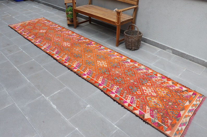 Hallway   4668 Turkish Rug Runner Rug Stair Rug Antique Rug Kitchen Rug 2.8x14.6 ft Muted Rug Herki Rug Oriental Rug Vintage Rug