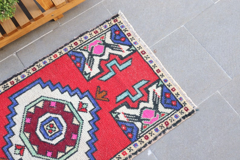 Antique Carpet 21x38 Inches Red Carpet Vintage Rug 6052 Turkish Rug Small Carpet Decorative Wall Hanging Carpet Organic Bedroom Rugs
