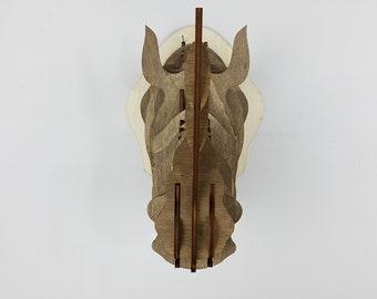 3D wooden Rhino head
