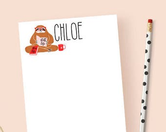 Sloth Notepad Personalized, Sloth Note Pad, Personalized Notepad Sloth, Funny Notepad, Cute Stationery Notepad, Sloth Gift, 5.5 x 8.5