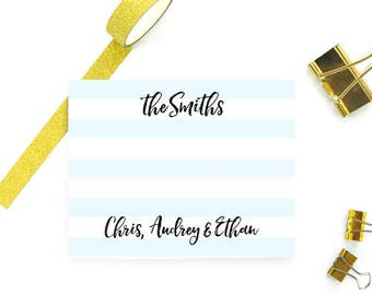 Personalized Family Stationery, Custom FLAT Note Cards, Personalized Stationary Family, Family Note Cards Personalized, SET of 10 Cards