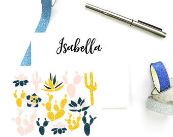 Personalized Cactus Stationary, Cactus Note Cards Personalized, Custom FLAT Note Cards, Monogram Cactus Stationary, SET of 10 Cards