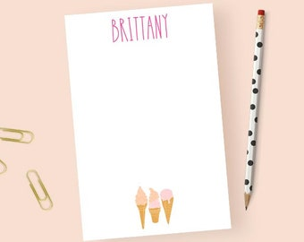 Personalized Ice Cream Notepad, Ice Cream Stationery Notepad Personalized, Ice Cream Stationary Notepad, Cute Notepad, 5.5 x 8.5