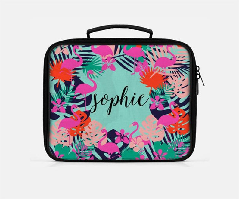eee384218f3c Flamingo Lunch Box, Tropical Lunch Box, Personalized Lunch Box, Pink Lunch  Box, Green Lunch Box, Lunch Box for Women, Retro Lunch Box