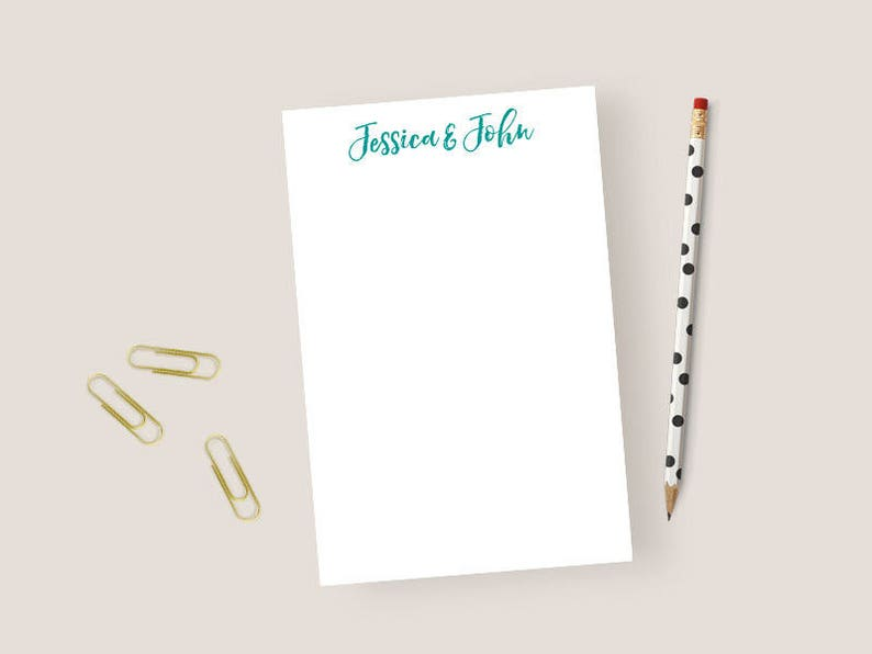 Couples Notepad Personalized Notepad Couples Personalized Notepad Modern Personalized Stationary Notepad 5.5 x 8.5 Monogram Notepad