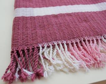 Baby Blanket 2, hand woven, pink, dark pink, white, 100% merino wool