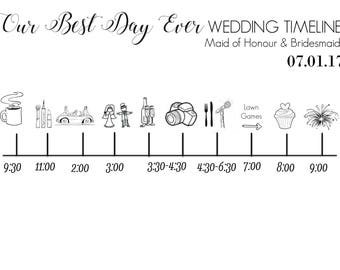 groomsman day of wedding timeline digital download etsy