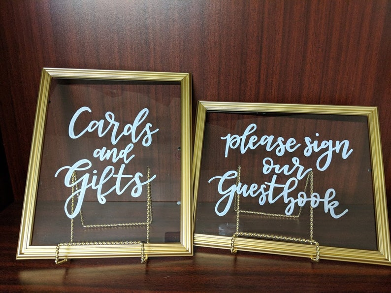 31b3fca8626a Set of 2 8x10 Gold Frame with Glass Insert Calligraphy Signs | Etsy