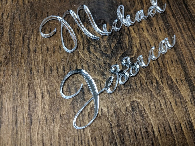 Lasercut Calligraphy Acrylic Names for Wedding Placecards Silver Acrylic Placecards