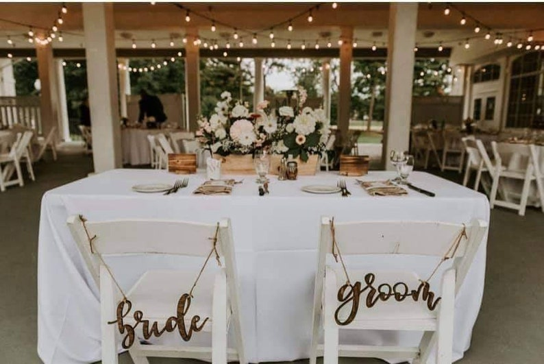Laser cut Wood Bride /& Groom Chair Signs Calligraphy Wedding Sign