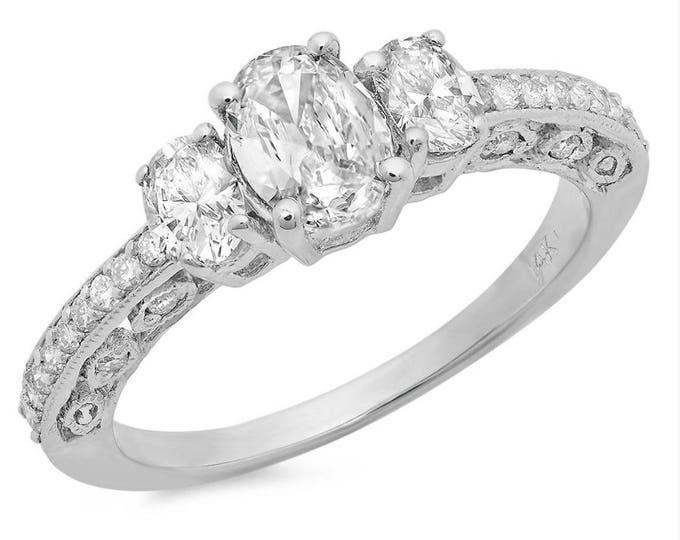 Three Stone Diamond Oval Ring