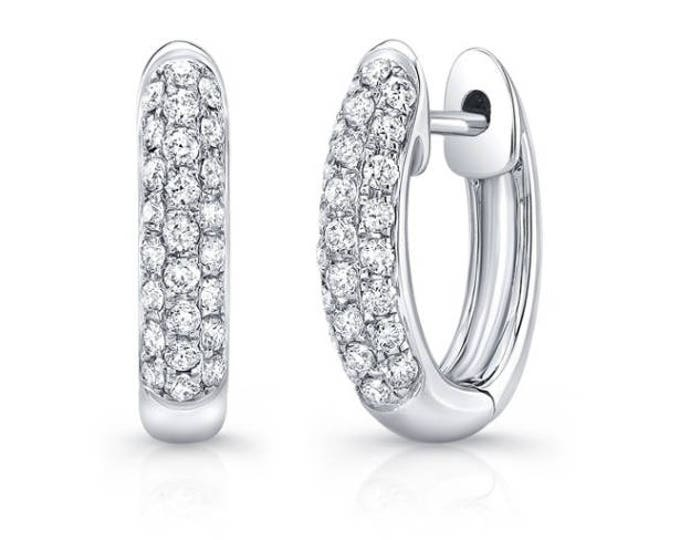 Diamond Row Huggie Earrings