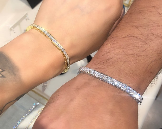 Silver Princess Cut Tennis Bracelet