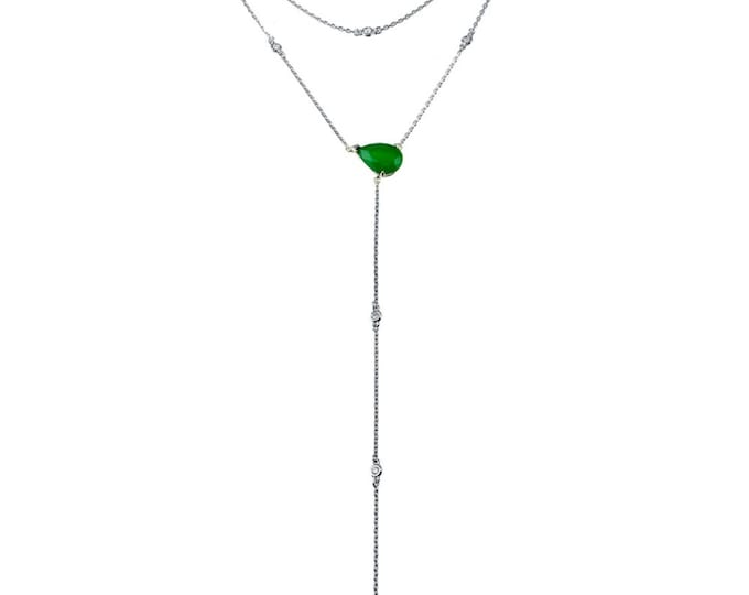 Emerald Centered Lariat Necklace