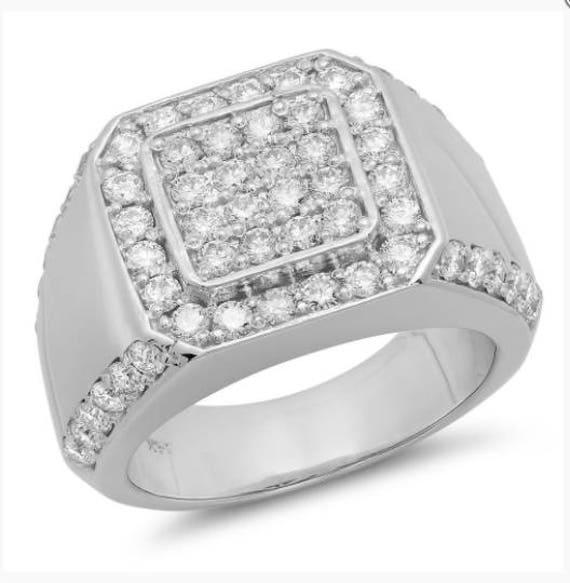 14k White Gold Mens Ring Mens Wedding Ring Mens Fashion Etsy