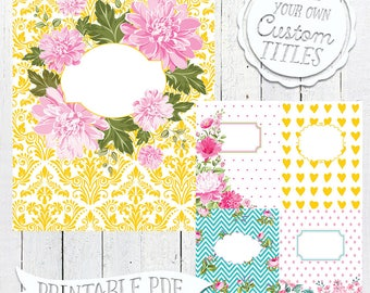 Vintage Candy Chic - Printable Binder Cover & Insert - 8.5x11 - Set of 5 - PDF - Instant Download