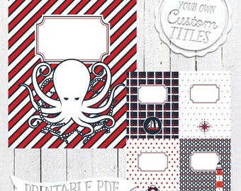Nautical Navy - Printable Binder Cover & Insert - 8.5x11 - Set of 5 - PDF - Instant Download