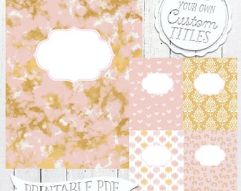 Pink and Gold Marble Binder Covers | Marble Swirl - Printable Binder Cover & Insert - 8.5x11 - Set of 5 - PDF - Instant Download