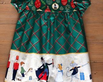 Nutcracker Christmas Dress, holiday party dress, green Christmas dress