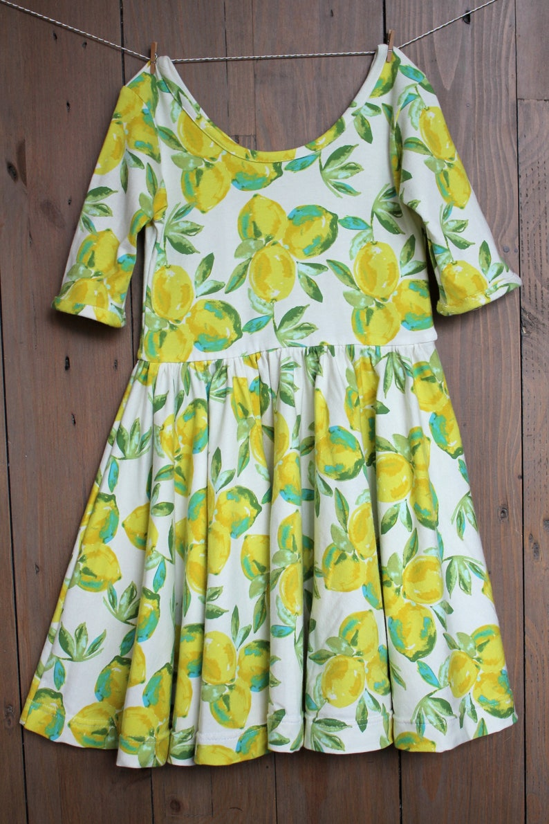 130cea35dd40c Circle Skirt Dress Lemon Dress Knit Dress Girls Dress | Etsy