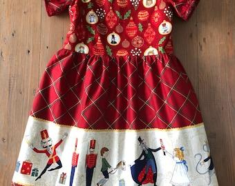 Girls Christmas Red Nutcracker Dress, Holiday Dress, party dress