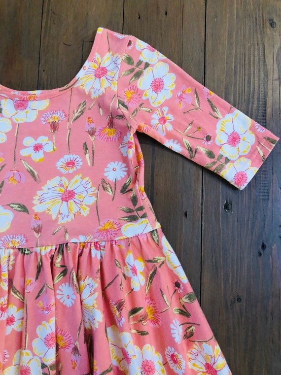Sprayed Blooms Reverie Circle Skirt Dress Floral Dress Girls Twirl Dress