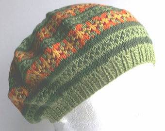 33d2f8985aad5 Ladies Green Fair Isle Beret - Hand Knit BERET - Knitted Winter Beret -  Pure Merino Wool - Vintage style Beret