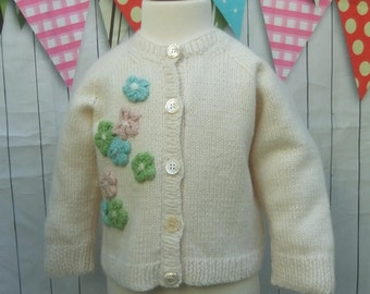 BABY Cashmere CARDIGAN - Cream Floral Babys Cardigan - Hand Knit Pure CASHMERE - Luxury Baby Gift - 3-6 months Baby - Baby shower Gift