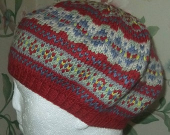 34284830c7f60 GIRLS BERET HAT - Hand Knitted 40 s Vintage style Beret - Red Blue Fair  Isle Beret - 5 sizes Age 1-10 - Pure Merino Wool - Girls Winter Hat
