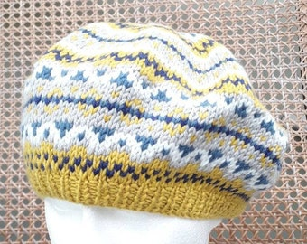 d2e6c2557598f Ladies Yellow and Blue Fair Isle Beret - Hand Knitted in Pure Merino Wool -  Traditional vintage style Beret