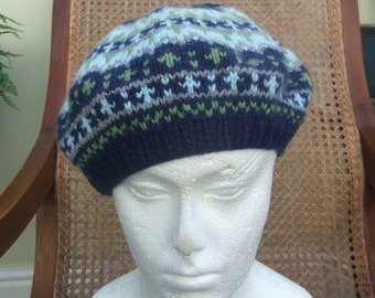 81ff5901d6c52 Hand Knitted CASHMERE BERET - Navy Blue Fair Isle Ladies Hat - Pure  Cashmere knitted HAT - Christmas gift - Luxury Gift - Winter Hat