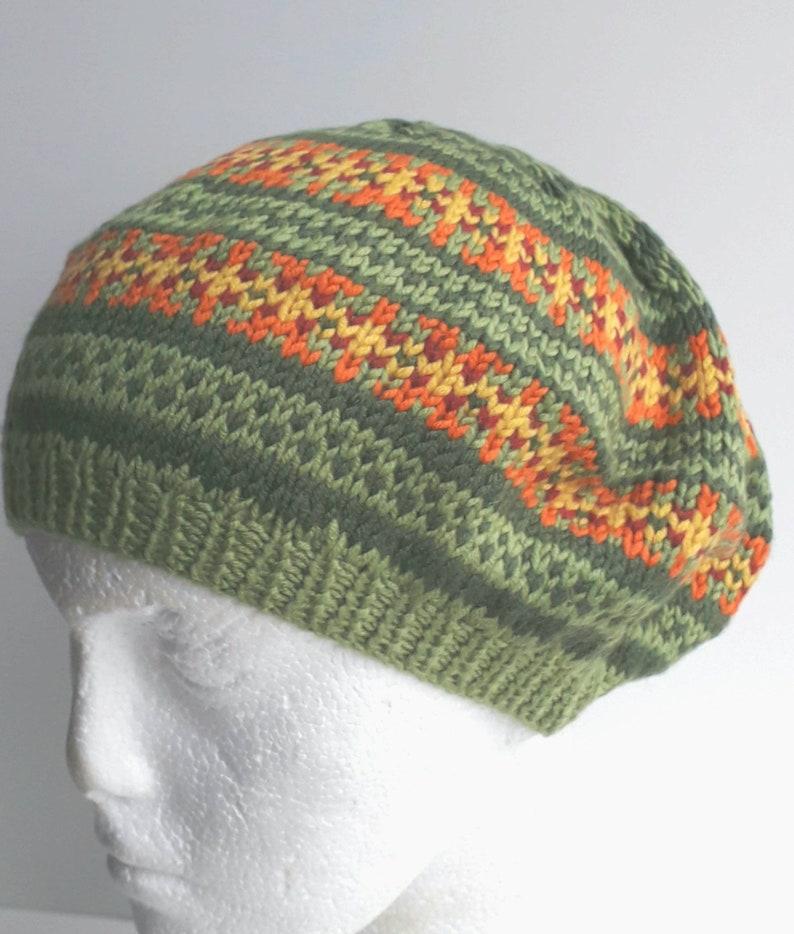 26633cec7b27e Ladies Green Fair Isle Beret Hand Knit BERET Knitted
