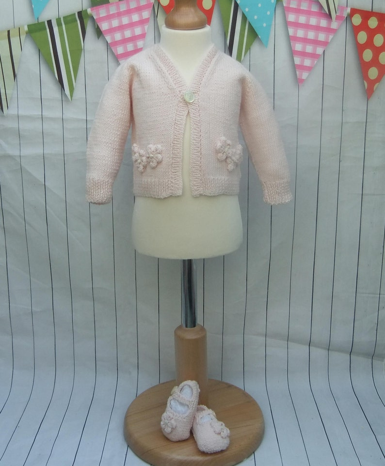 0-3 months Hand Knitted BABYS Pale Pink Cardigan with matching booties