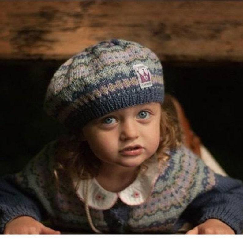af98c1363aa5a Girls Fair Isle Beret Hand Knitted GIRLS BERET Childs Blue
