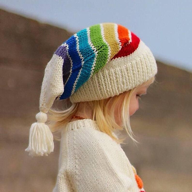 Childs RAINBOW WINTER HAT Wee Willy Winkie Hat Hand  cb906d5102d