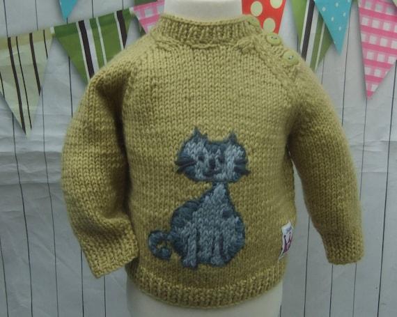 fd4d28961 3-6 months BABYS JUMPER Yellow Blue Cat Jumper Hand