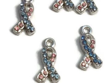 Pink & Blue Crystal Awareness Ribbon Pendant Charms -  Infant Loss SIDS Birth Defects Pregnancy Loss Infertility Jewelry